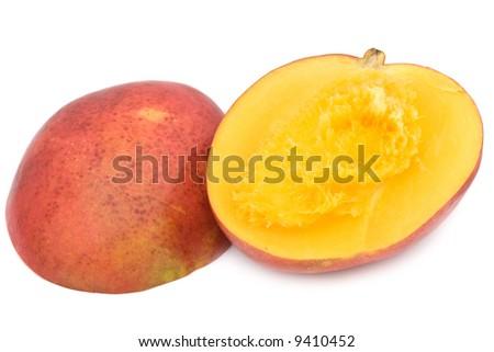 Sliced juicy mango isolated on white background. - stock photo
