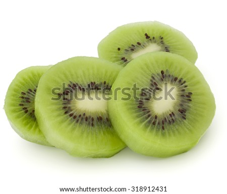 sliced Kiwi fruit isolated on white background cutout - stock photo
