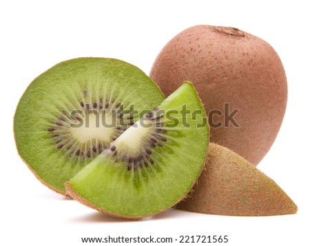 Sliced kiwi fruit segment  isolated on white background cutout - stock photo