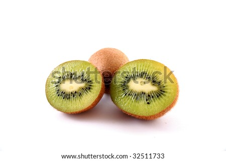Sliced kiwi isolated on white