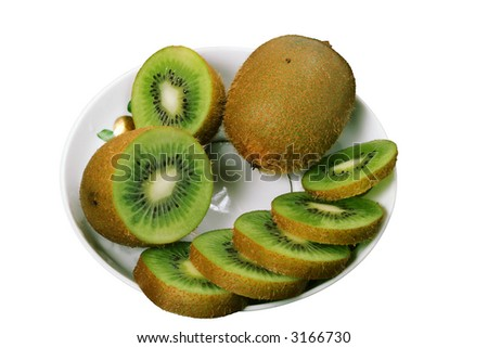 Sliced kiwi on a saucer isolated on white background