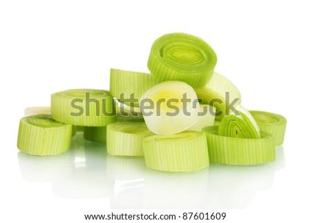 sliced leek isolated on white - stock photo