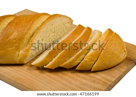 Sliced loaf of bread isolated on white