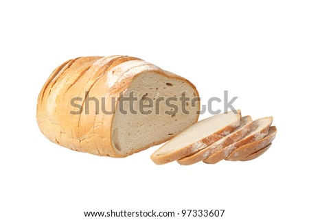 Sliced loaf of bread isolated over white background with clipping path. - stock photo