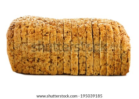 Sliced loaf of bread with grains over a white background  - stock photo