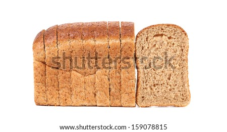Sliced loaf of brown bread. Isolated on a white background - stock photo