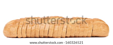 Sliced loaf of white bread. Isolated on a white background