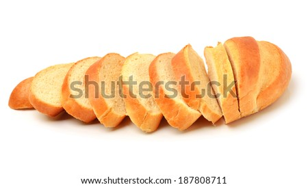 Sliced long loaf bread isolated on white - stock photo