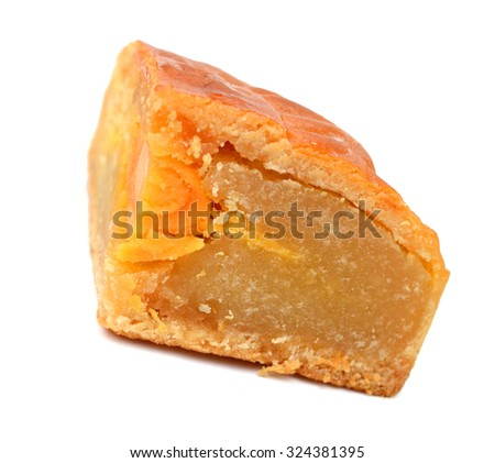 sliced lotus seed moon cake with yolk  - stock photo