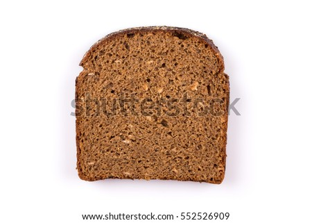 sliced of black bread isolated on white background