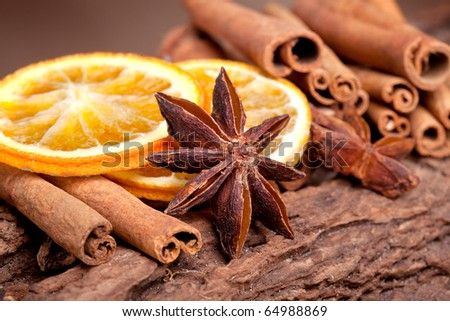 Sliced of dried Orange with cinnamon sticks and Anise