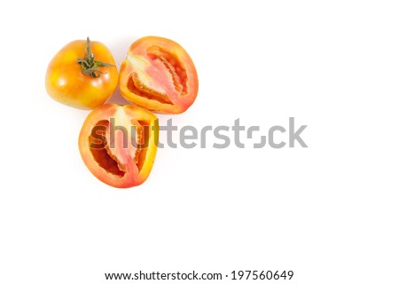 Sliced of fresh natural tomato isolated on white background