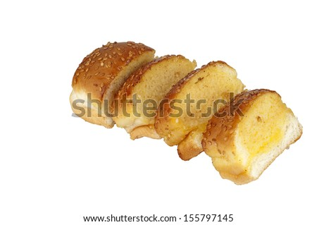 Sliced of garlic Bread with sesame - stock photo