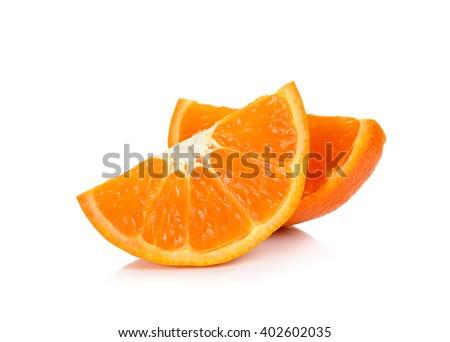 Sliced of orange fruit isolated on the white background. - stock photo