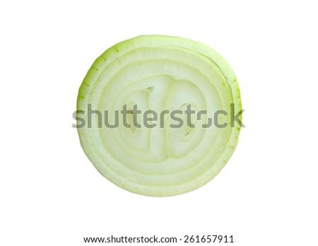 Sliced Onion on white background - stock photo