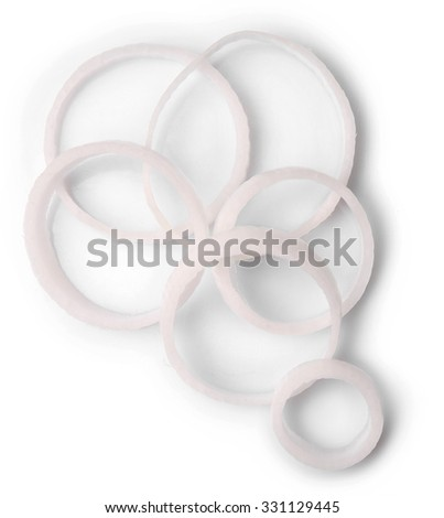 Sliced onion rings isolated on white - stock photo