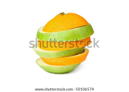 Sliced orange and green apple merged together, isolated on white background.