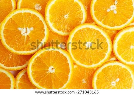 Sliced orange background - stock photo