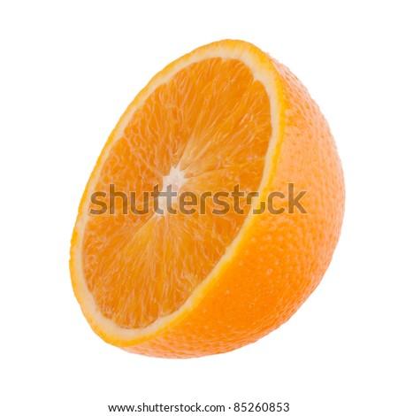 Sliced orange fruit half  isolated on white background - stock photo
