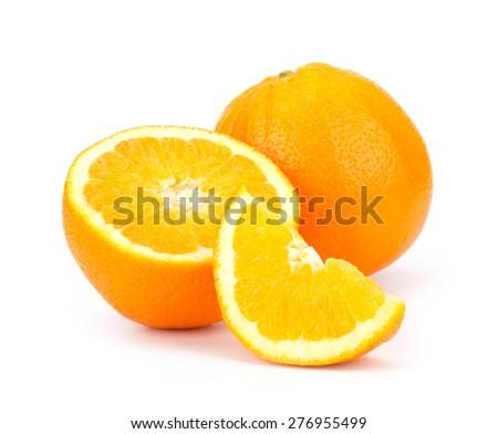 Sliced Orange fruit sliced isolated on white background - stock photo