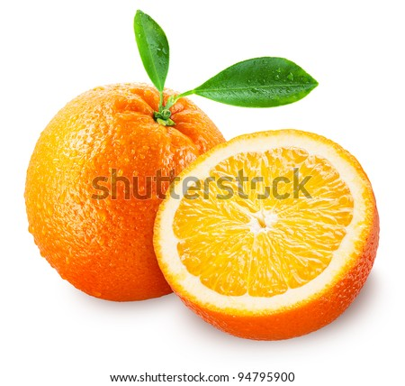 Sliced orange fruit with leaves isolated on white background + clipping path - stock photo