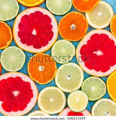 Sliced orange, lime, lemon, grapefruit