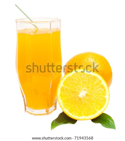 sliced oranges with glass of orange juice isolated on white background