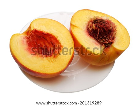Sliced peach on a white plate, isolated on a white background  - stock photo