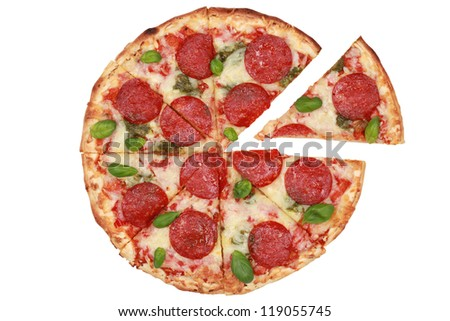 Sliced Pepperoni Pizza isolated on white background - stock photo