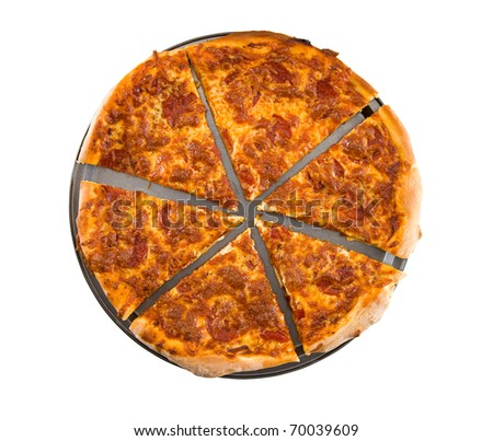 Sliced pepperoni pizza isolated on white background. Clipping path.