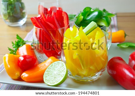 Sliced peppers - stock photo