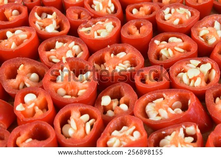 Sliced Peppers Background, Closeup, Studio Shot - stock photo