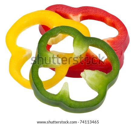 Sliced peppers isolated on white - stock photo