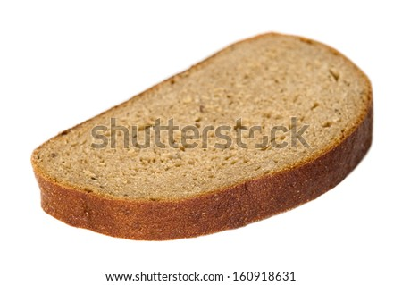 Sliced pieace of dark bread placed on isolated background