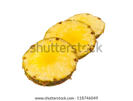 Sliced �¢??�¢??pineapple on a white background