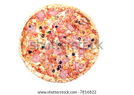 sliced pizza isolated - stock photo