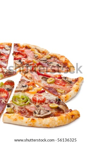sliced pizza on a white background