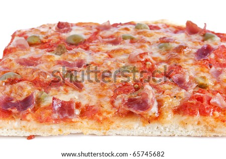 sliced pizza with mozzarella, tomatoes, olives and jam