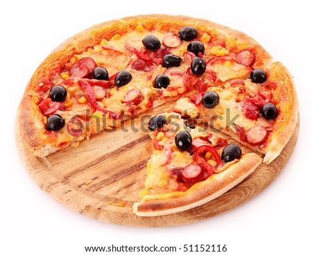 Sliced Pizza with olives on wooden plate isolated on white
