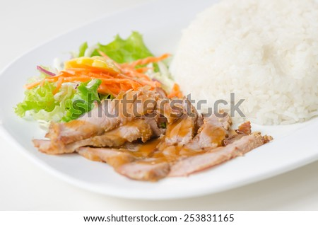 sliced pork tenderloin with fresh salad served with steamed rice - stock photo