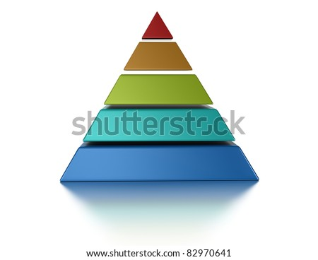sliced pyramid, 5 levels isolated over a white background - stock photo