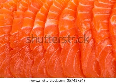 Sliced raw fatty salmon (Close up Salmon sashimi) - stock photo
