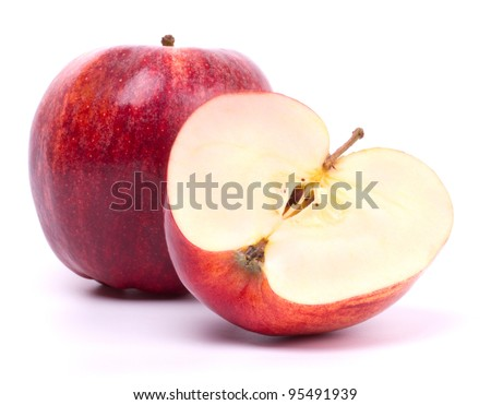 Sliced red apple isolated on the white - stock photo