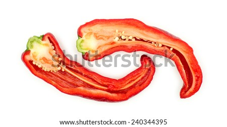 Sliced red hot chili pepper with inside seeds - stock photo