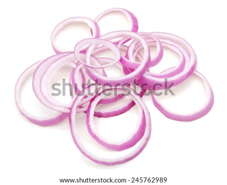 Sliced red onion rings isolated on white background cutout  - stock photo