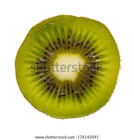 Sliced  ripe kiwi isolated on white background - stock photo