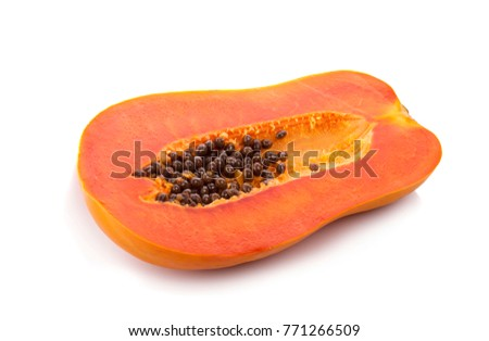 sliced ripe papaya with seed on with background.