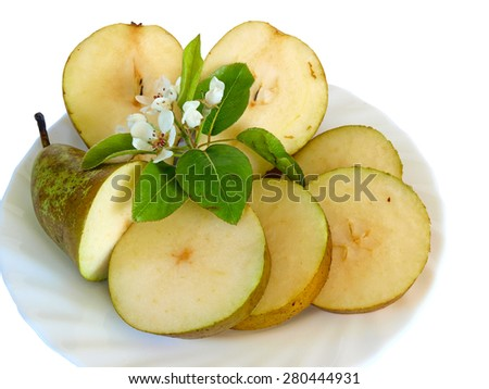Sliced ripe pear and branch with blossoms on dish, isolated on white       - stock photo