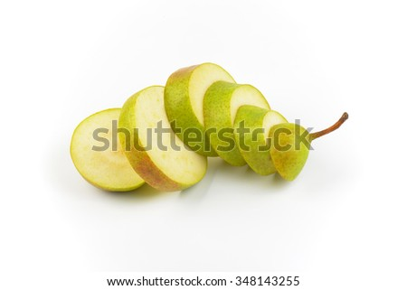 sliced ripe pear on white background