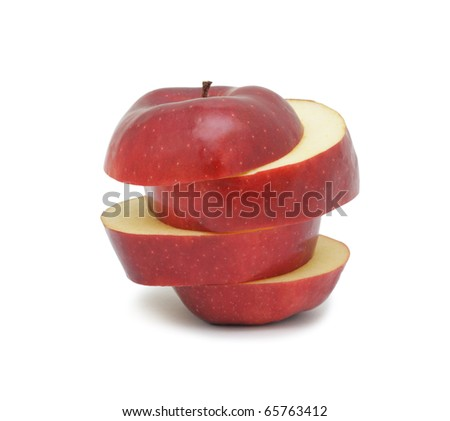 Sliced ripe red apple, isolated on a white background - stock photo